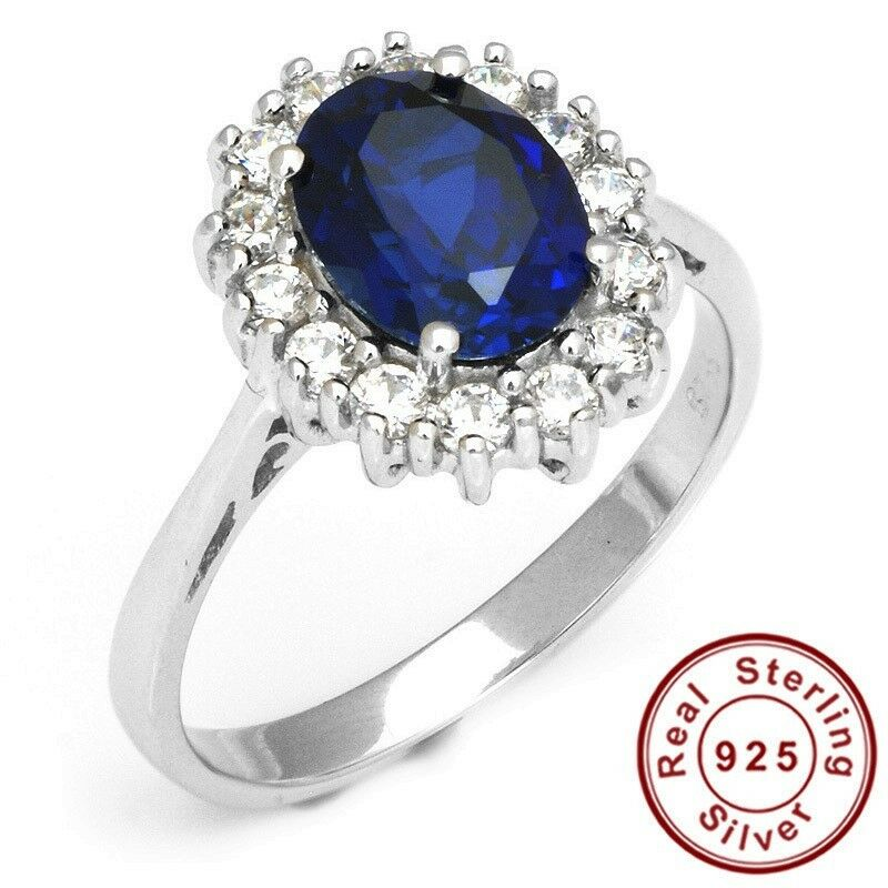 925 sterling silver ring gemstone princess diana 2 5ct