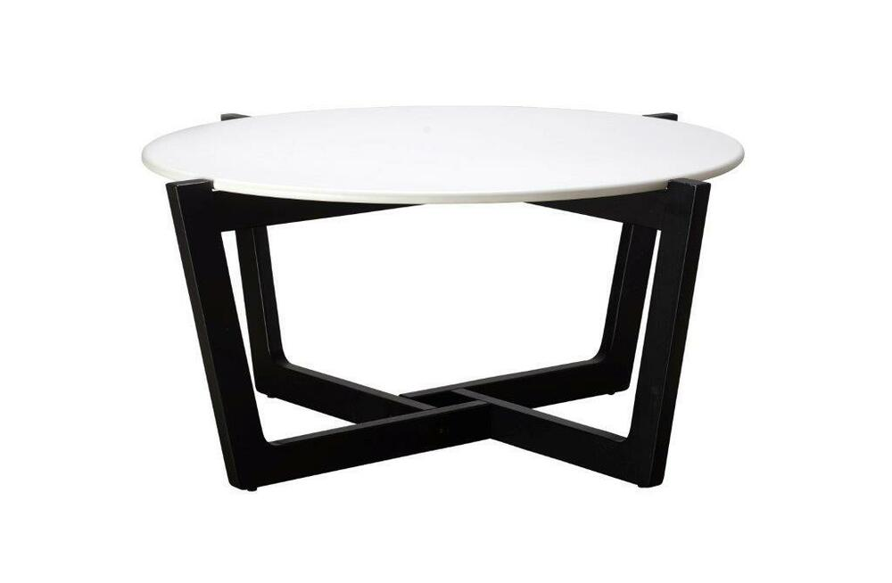 Sofia coffee table black oak white top round coffee for Coffee tables ebay australia