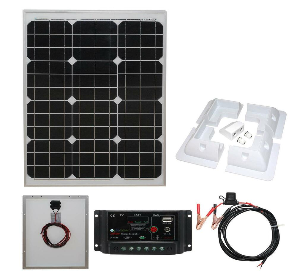 40w Mono Solar Panel Battery Charging Kit Controller