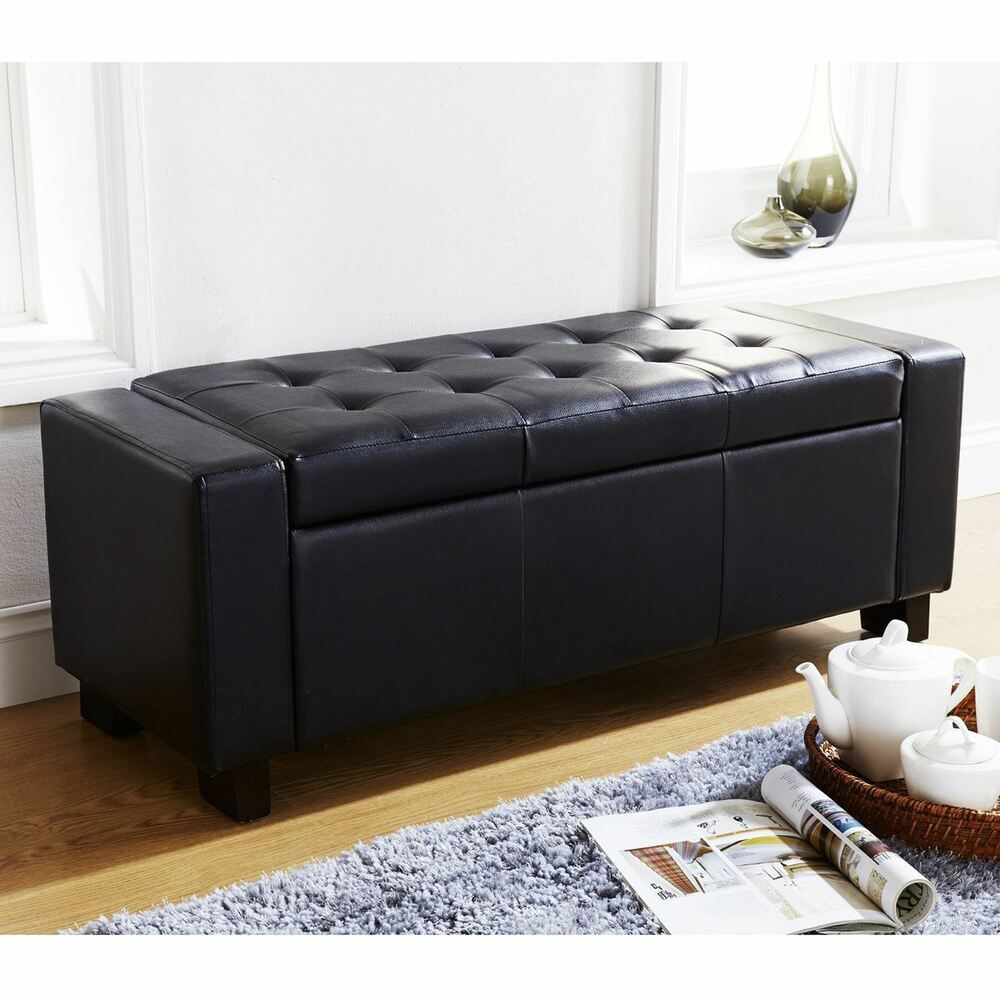 Verona Ottoman Blanket Box Storage Bench Faux Leather Foot