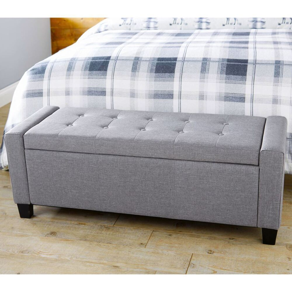 Ottomans Lucia Storage Chest Grey Fabric: VERONA OTTOMAN STORAGE BLANKET BOX HOPSACK FABRIC SEAT