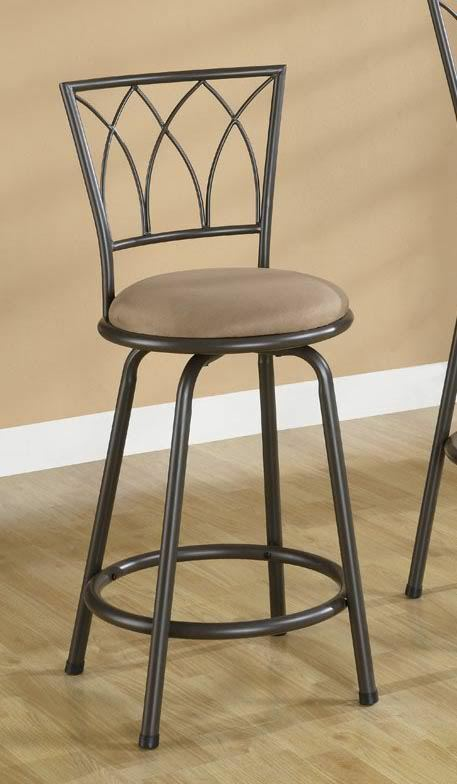 Brown metal swivel counter height bar stool 24 inch by for 24 inch bar stools