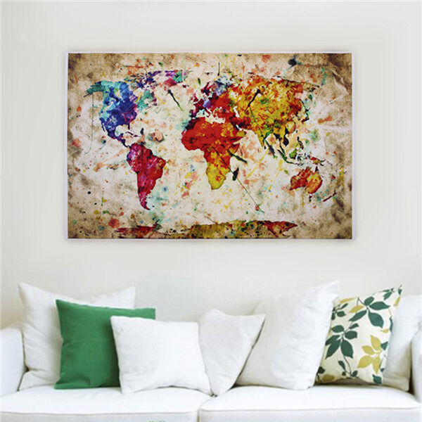 Vintage watercolor fabric poster entitled world map urban for Urban home decor