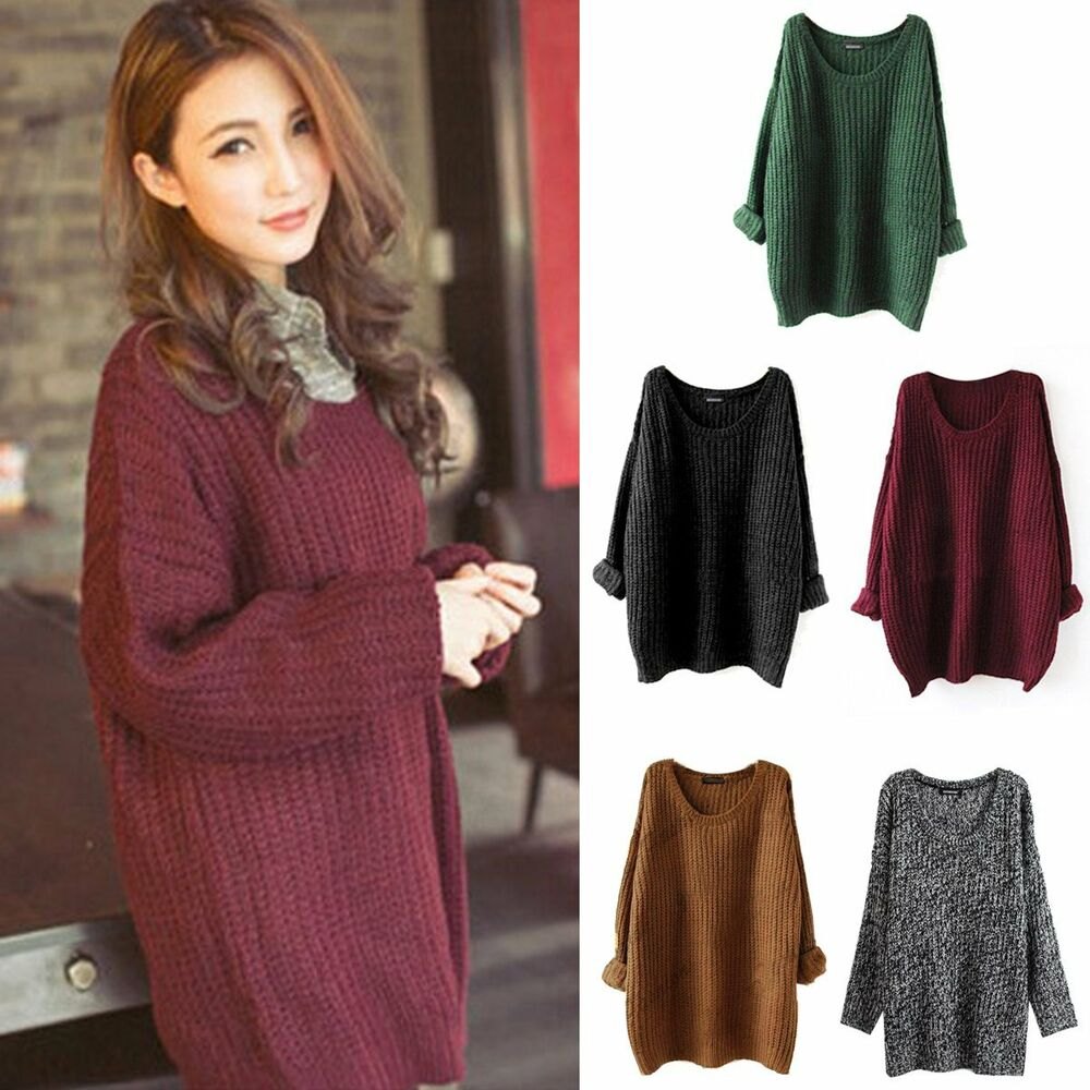 Women's Knited Sweater Pullover Jumper Batwing Sleeve Tops ...