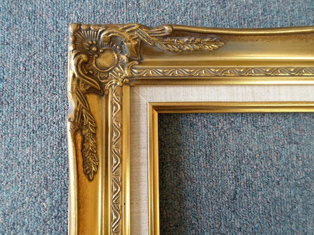 picture frame 16x20 vintage antique style ornate old gold w linen 628 ebay. Black Bedroom Furniture Sets. Home Design Ideas