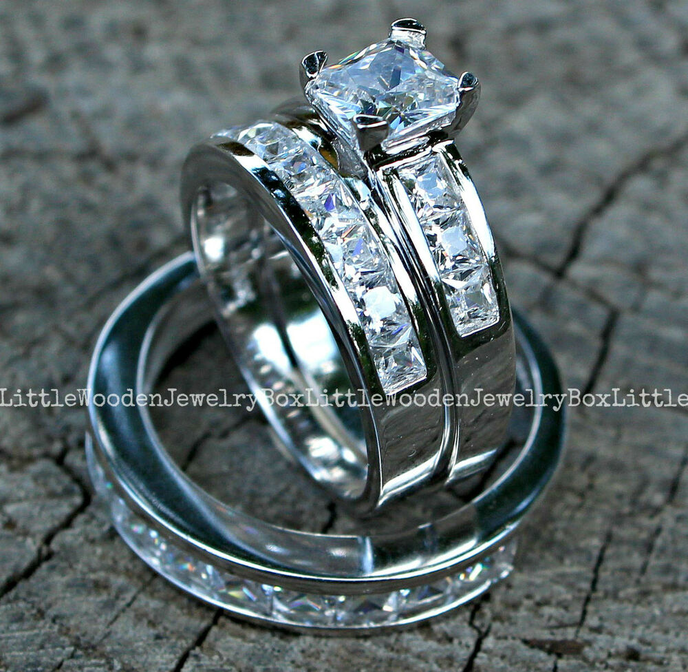 His and hers 925 sterling silver 14k white gold engagement for Wedding bands and engagement ring sets