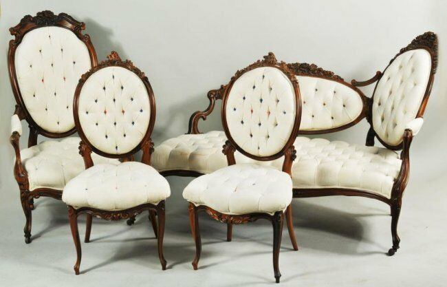 4 Pc Antique Carved Rosewood Chaise Settee Chairs Parlor