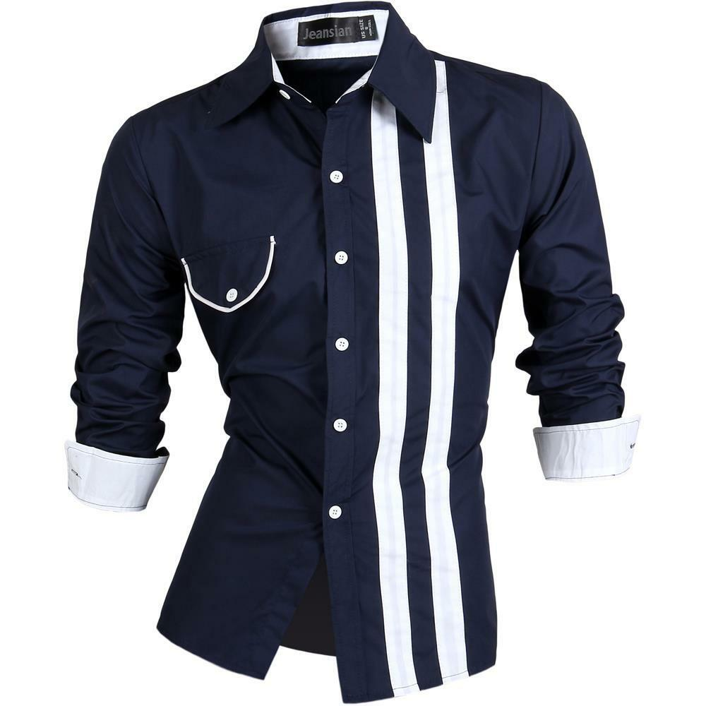 Jeansian Mens Race Stylish Shirt Casual Dress Fashion Tops