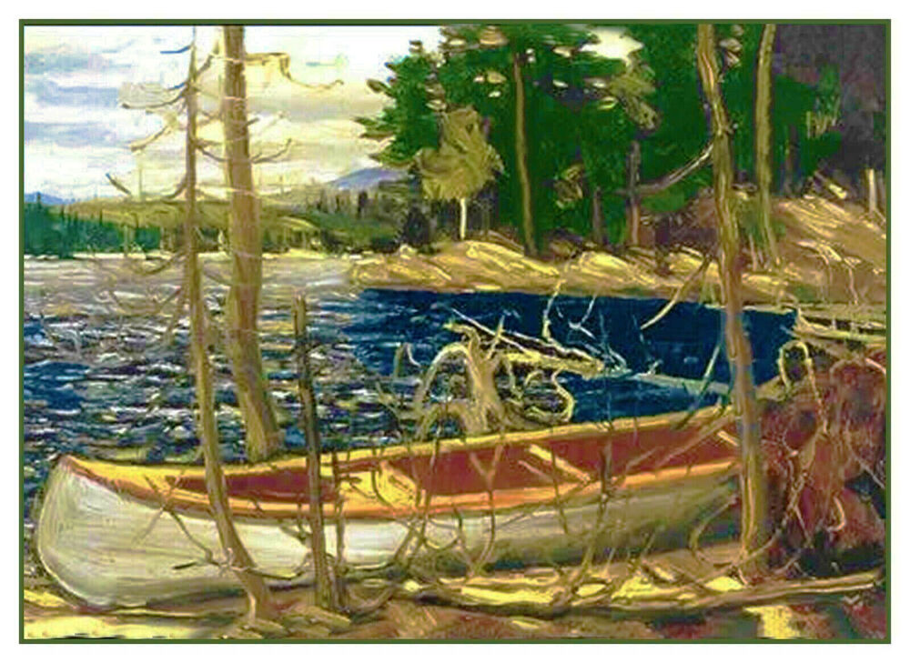 Tom Thomson Canadian River Canoe Landscape Counted Cross