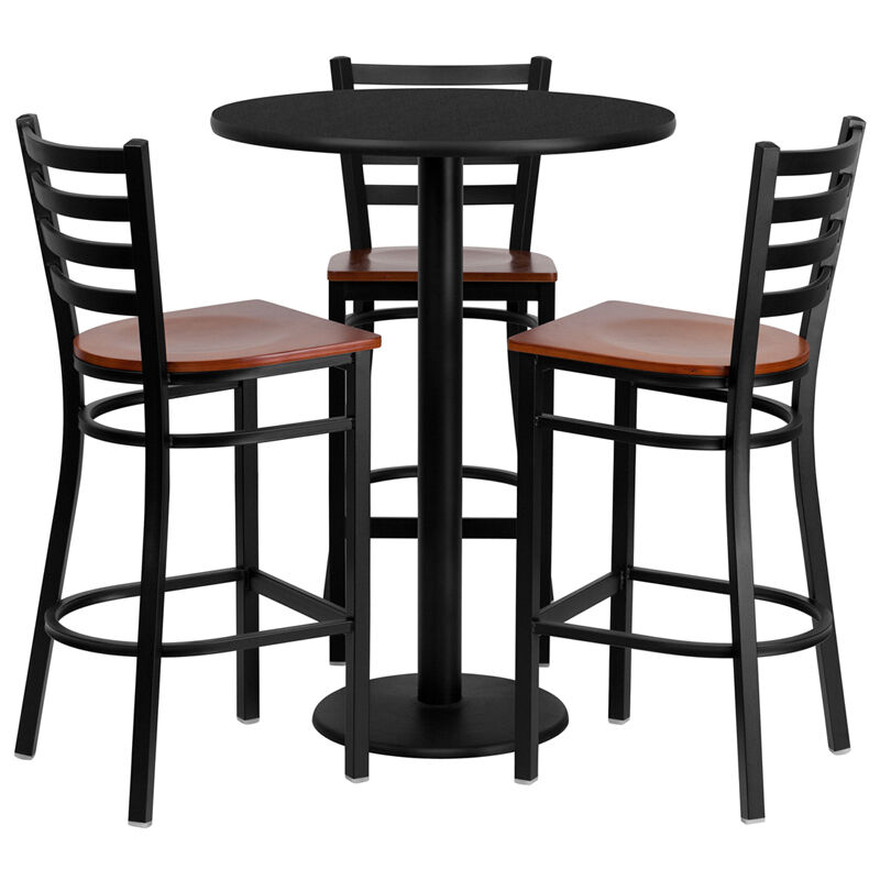 30 round high top restaurant cafe bar table and cherry seat stool chair set ebay. Black Bedroom Furniture Sets. Home Design Ideas