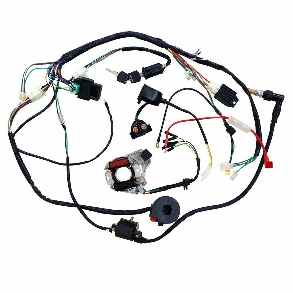 full electrics wiring harness coil cdi 50cc/70/110cc atv ... 110cc mini chopper wiring diagram #2