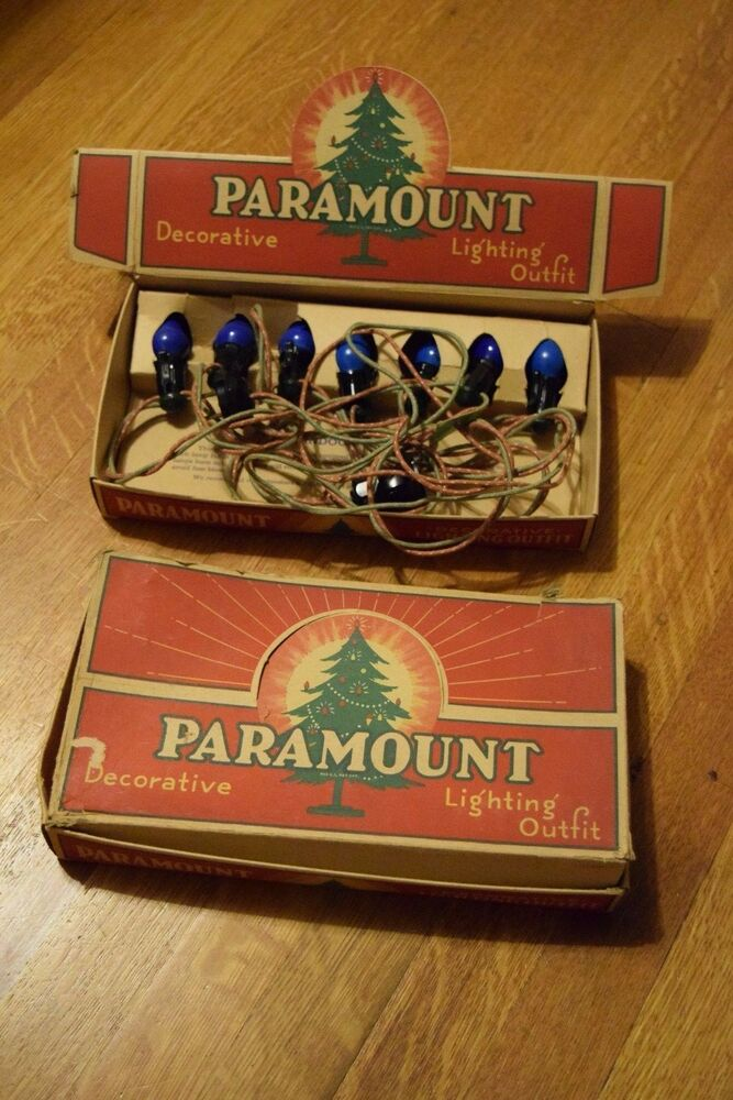 2 Sets Vintage Paramount Indoor Christmas Lights with Cloth String & Display Box eBay