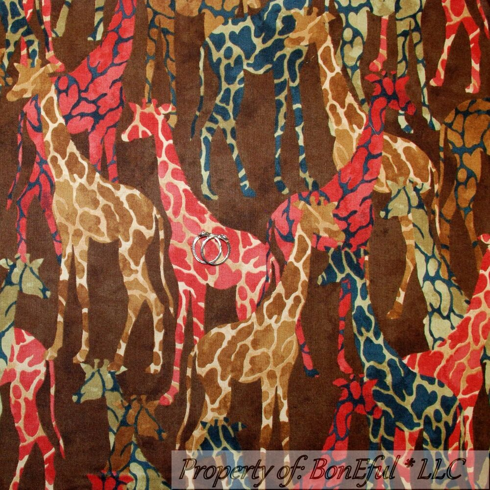 Boneful Fabric Fq Cotton Quilt Brown Giraffe African Skin