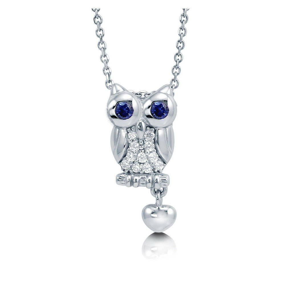 berricle jewelry berricle sterling silver cz owl fashion pendant necklace 6530