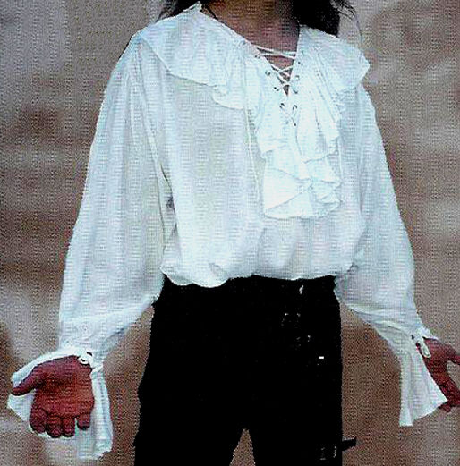 New goth pirate 18th century mens white ruffled shirt l for Frilly shirts for men