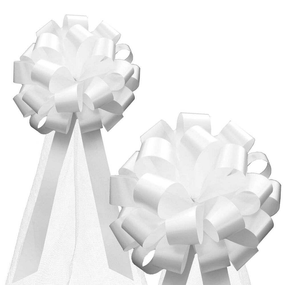 6swhite Silvers: 6 White Pull Bows Tulle Tails Church Wedding Pew Chair