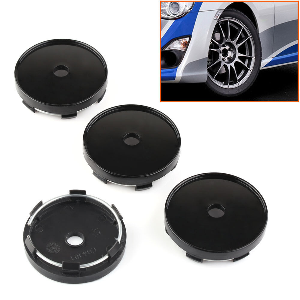 4pcs 60mm Diameter Black Suv Car Wheel Center Covers Cap