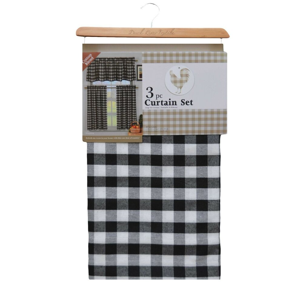 Black And White Plaid Kitchen Curtains
