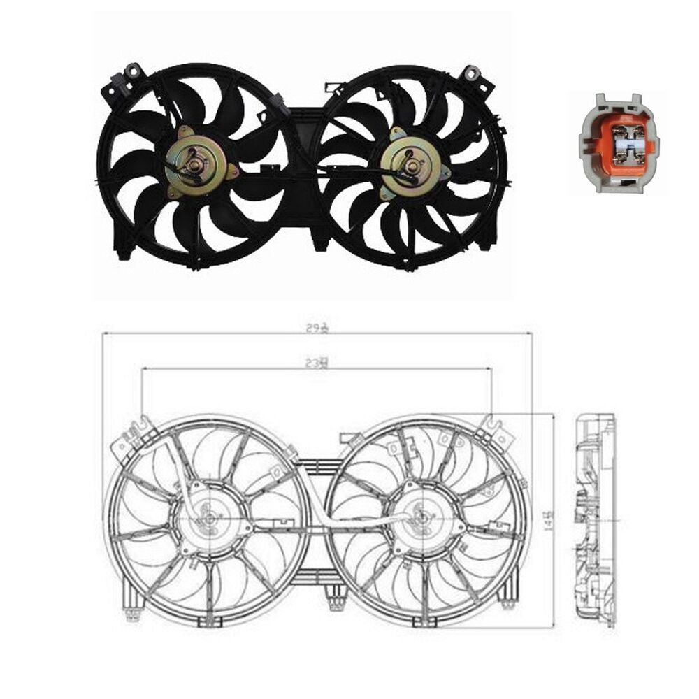 dual radiator condenser fan assy fits 2007 2015 nissan altima 2 5l 3 5l ebay. Black Bedroom Furniture Sets. Home Design Ideas