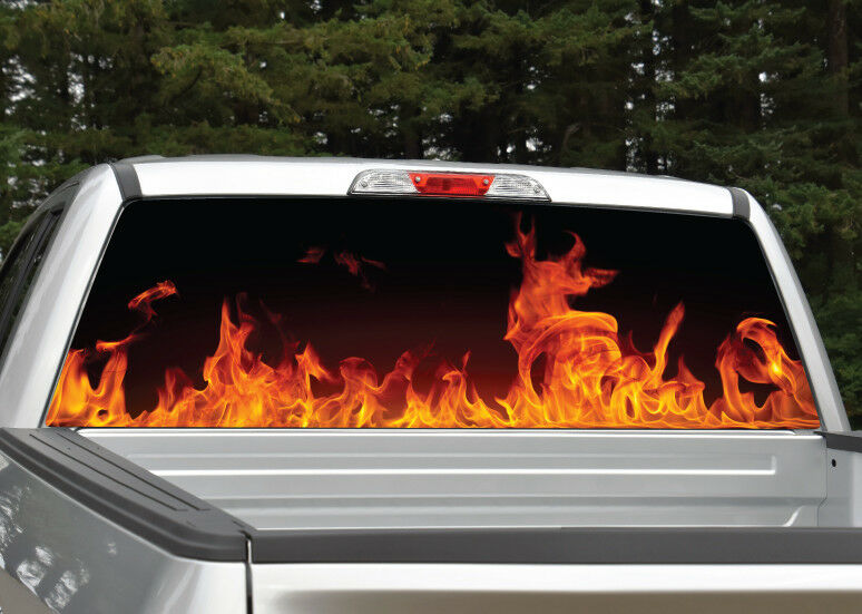 360dd3bbbc Details about Fire Flames Red Orange Rear Window Decal Graphic for Truck SUV