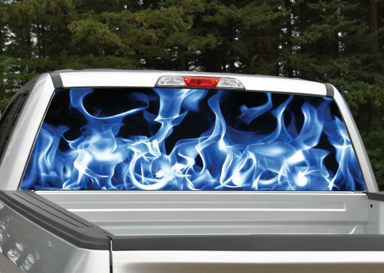Blue Fire Flames Rear Window Decal Graphic For Truck Suv
