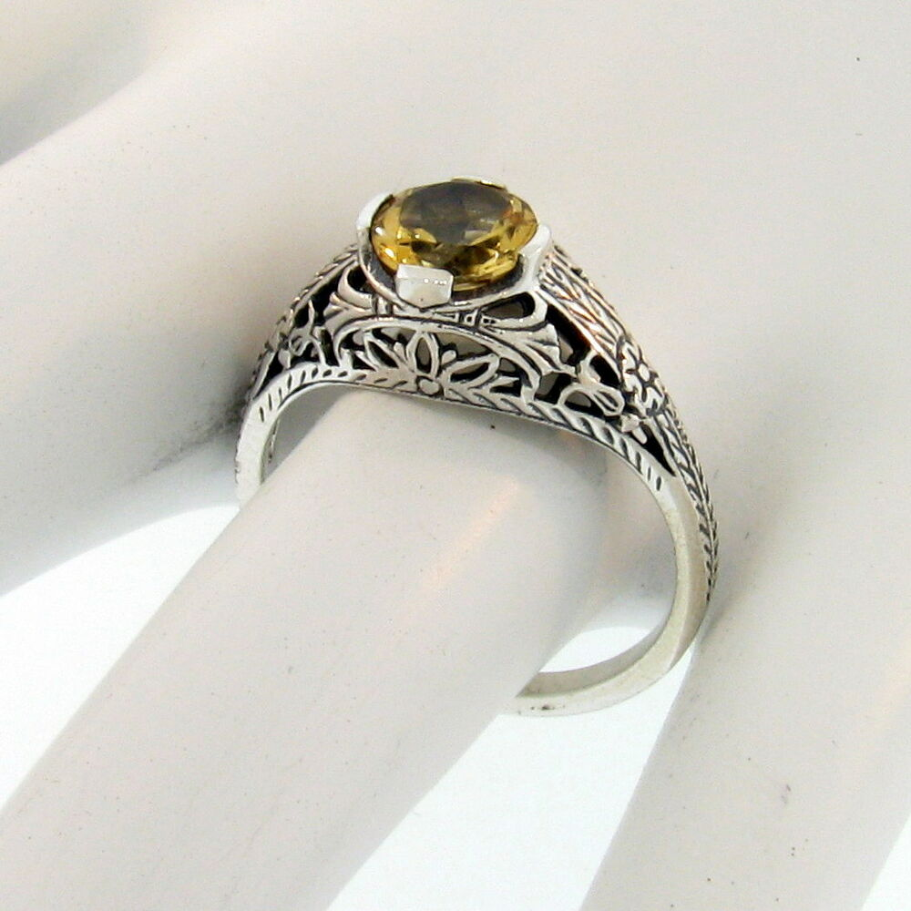 genuine citrine 925 sterlining silver antique style ring