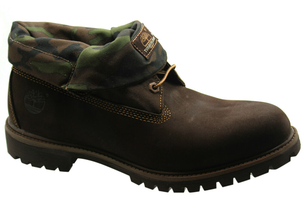 Timberland 6 Inch Af Roll Top Mens Brown Camo Leather Pull