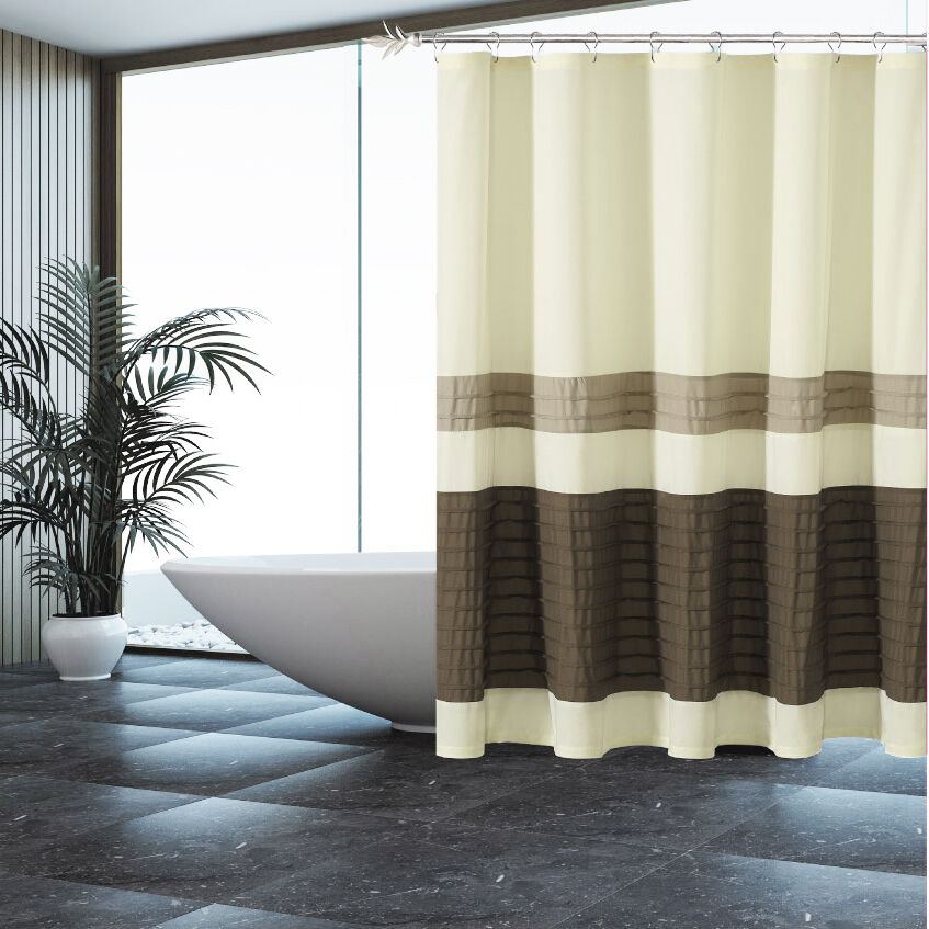 Fabric Shower Curtain Beige With Pleated Tan And Brown Pintuck Stripes EBay
