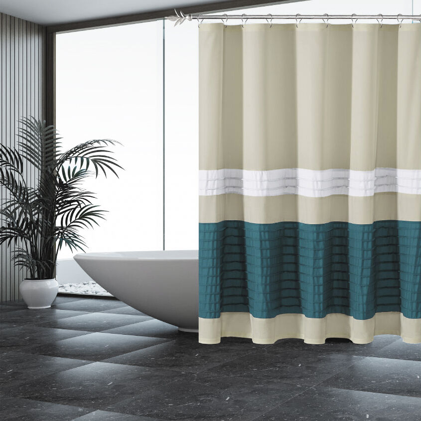 Kitchen Curtains Fabric Curtains Fabric Stripe Drapes: Fabric Shower Curtain: Beige With Pleated Blue And White