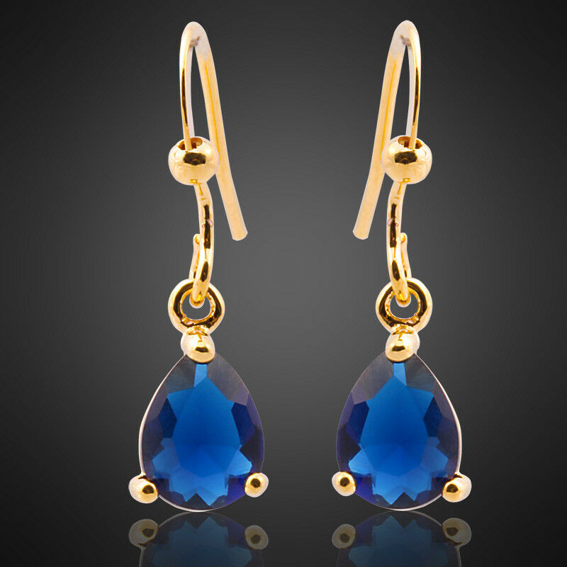 Xmas Jewelry Blue Sapphire 18K Yellow Gold Plated Gp ...