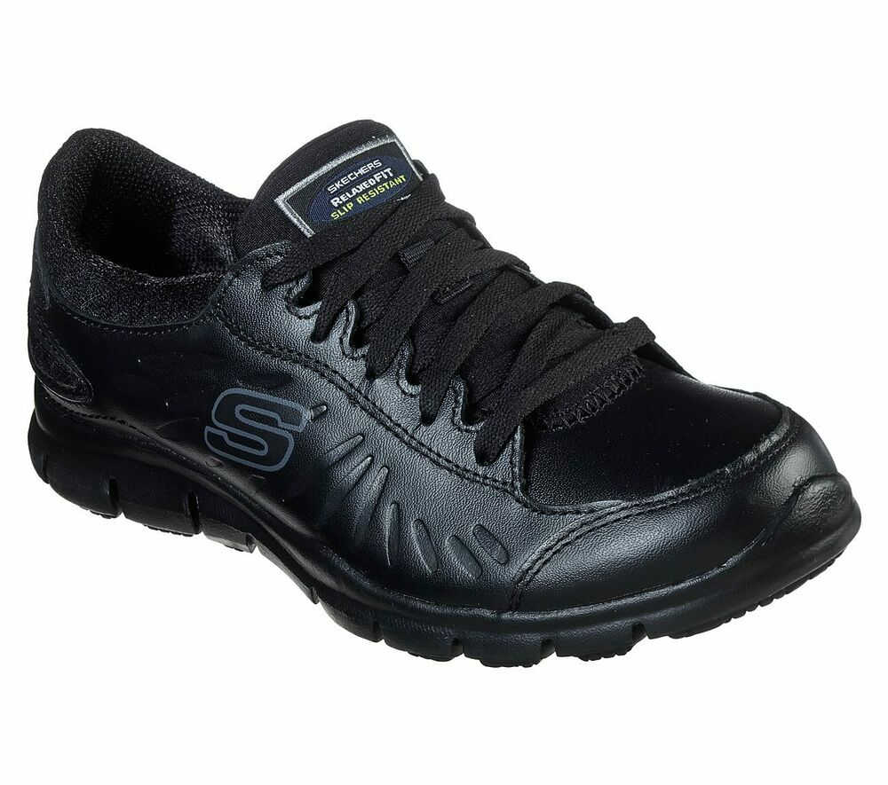 76551 Skechers Womenu0026#39;s ELDRED SLIP RESISTANT Work Shoes BLK Black | EBay