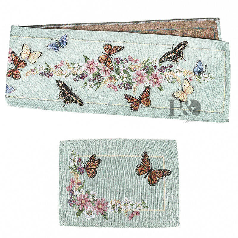Glamorous Butterfly Garden Vintage Table Runner Placemats
