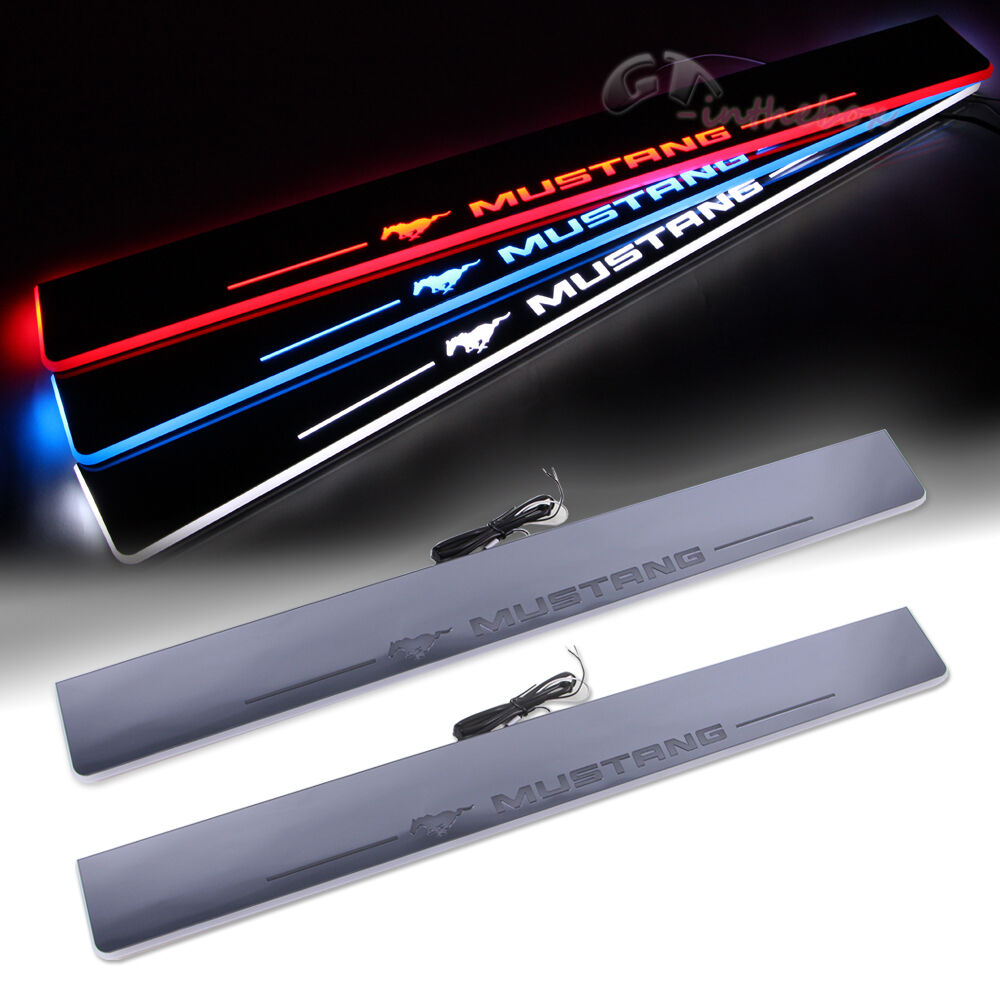 2x Illuminated Flash Led Light Door Scuff Sill Plates For