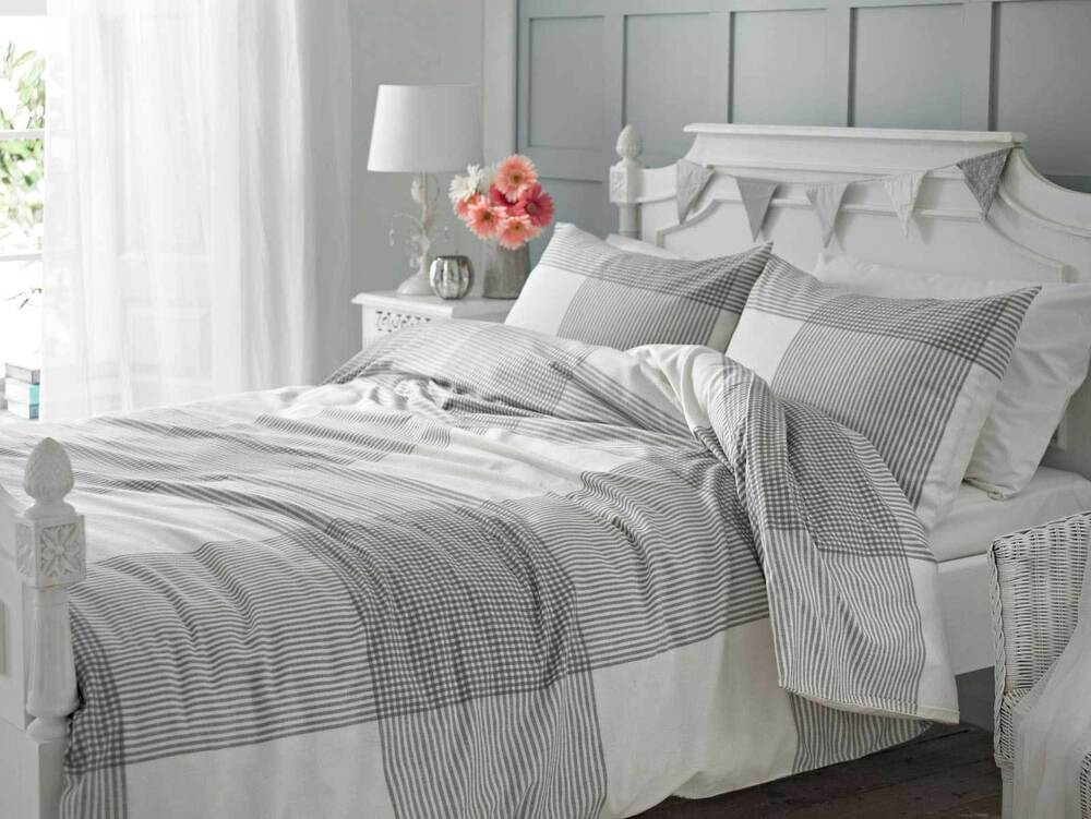 grey check flannelette brushed cotton duvet cover set ebay. Black Bedroom Furniture Sets. Home Design Ideas