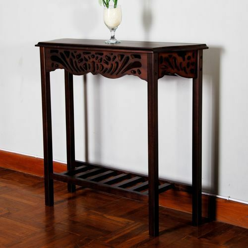 victorian style solid mahogany wood console hall table dark brown color w shelf ebay. Black Bedroom Furniture Sets. Home Design Ideas