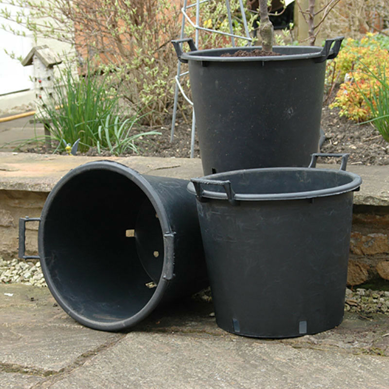 6 x 30 Litre Plant Tree Pot With Handles Heavy Duty 30L Lt Big Large Plastic