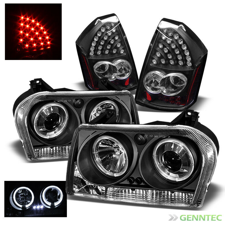 Chrysler 300 2006 Black Led Tail Lights: For 2005-2007 Chrysler 300 Halo LED Projector Headlights