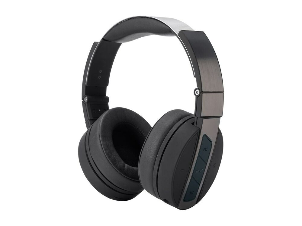 bluetooth over the ear headphones with built in microphone black metal ebay. Black Bedroom Furniture Sets. Home Design Ideas