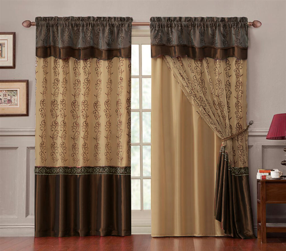 double layer window curtain drapery panel gold back panel with chocolate brown ebay. Black Bedroom Furniture Sets. Home Design Ideas