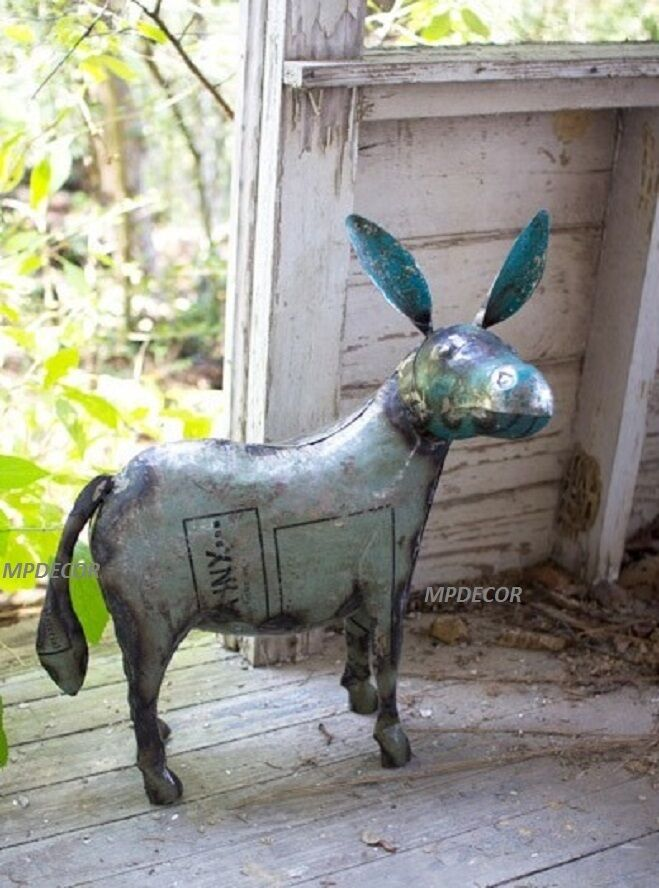 Recycled Metal Donkey Farm Animal Mule Rustic Statue Horse