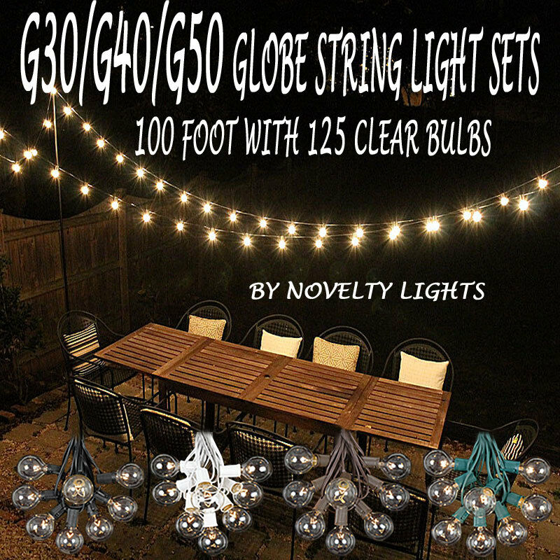 Details About 100 Foot Globe Patio Outdoor String Lights Set Of 125 G50 G40 G30 Clear Bulbs