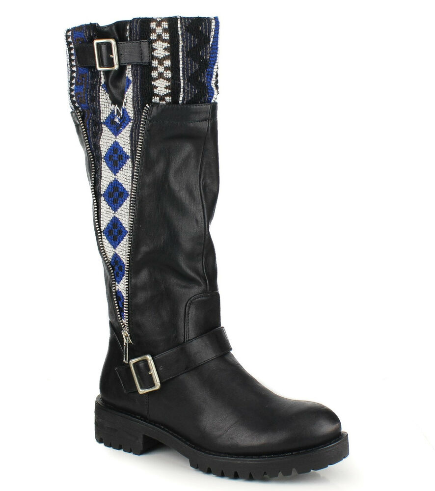 black knee high combat boots tribal knit low heel