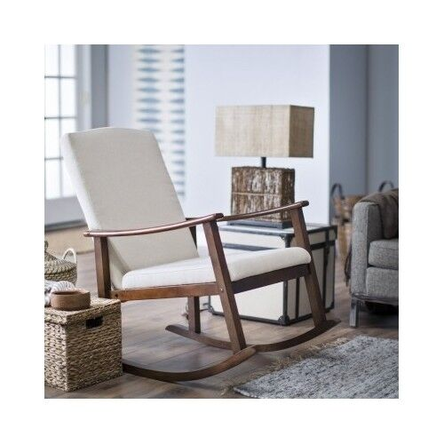 Rocking Chair Upholstered Cushioned Modern Wood Seat Baby Rocker ...