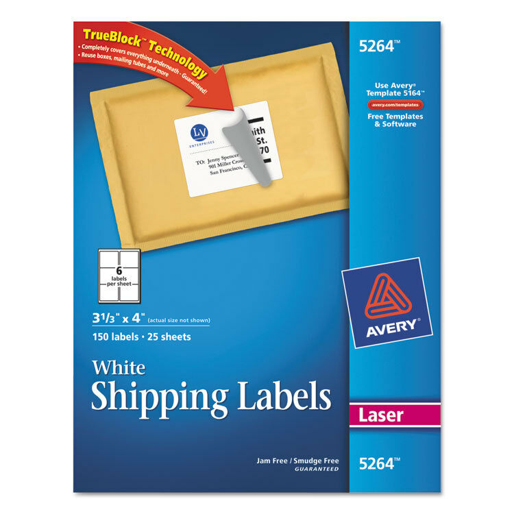 Avery Shipping Labels W Ultrahold Ad Amp Trueblock Laser 3 1