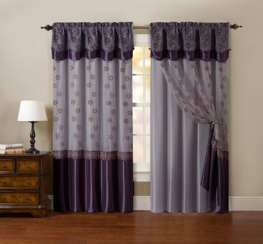 one piece window curtain drapery sheer panel plum purple and gold 55 x90 ebay. Black Bedroom Furniture Sets. Home Design Ideas