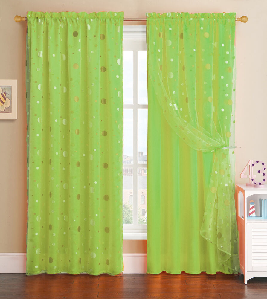 lime green window curtain panel with circle design sheer. Black Bedroom Furniture Sets. Home Design Ideas