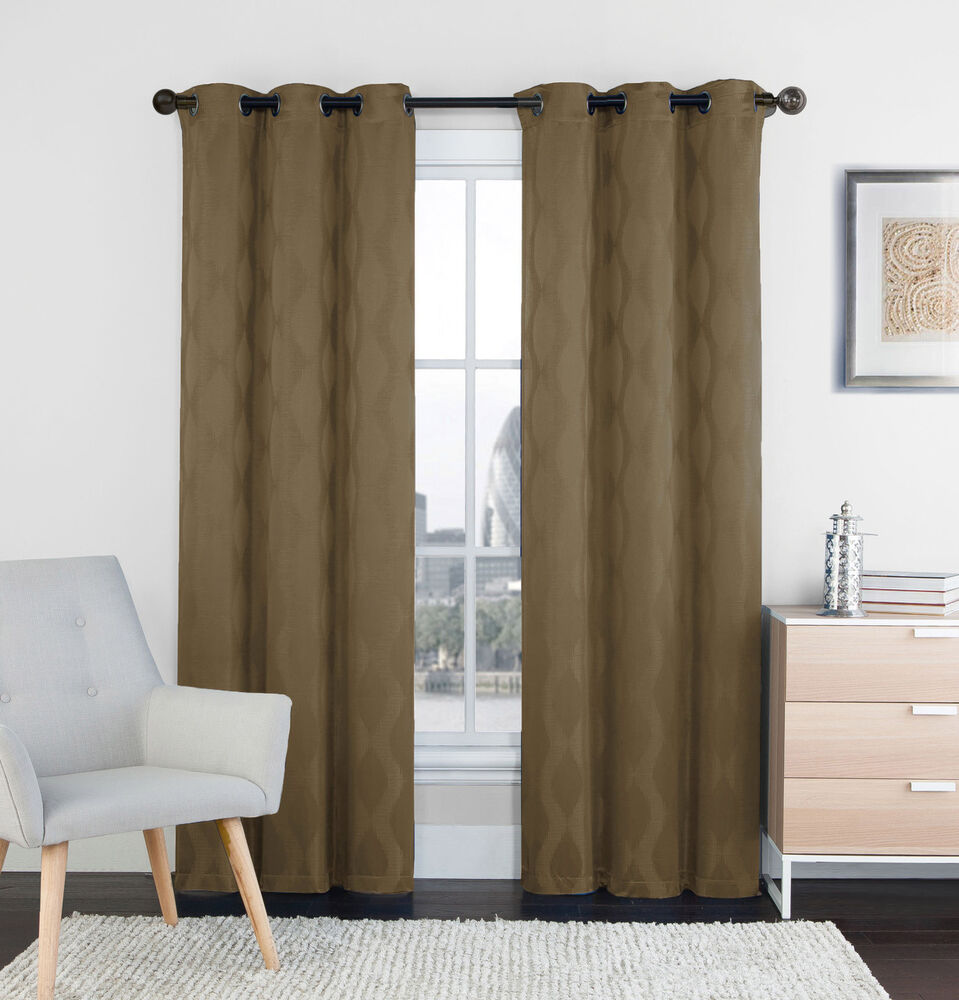 Two 2 mocha window curtain panels 76 x 84 grommets for Window panel design
