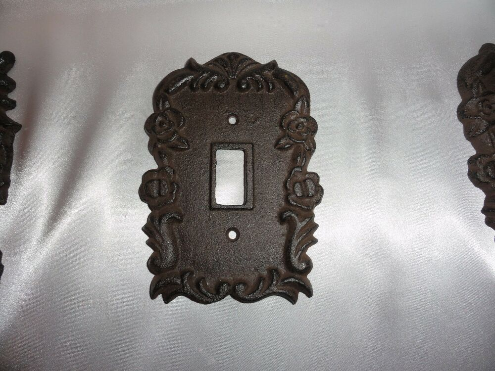 Cast iron single light switch plate shabby cottage cottage rose chic shabby ebay - Wrought iron switch plate covers ...