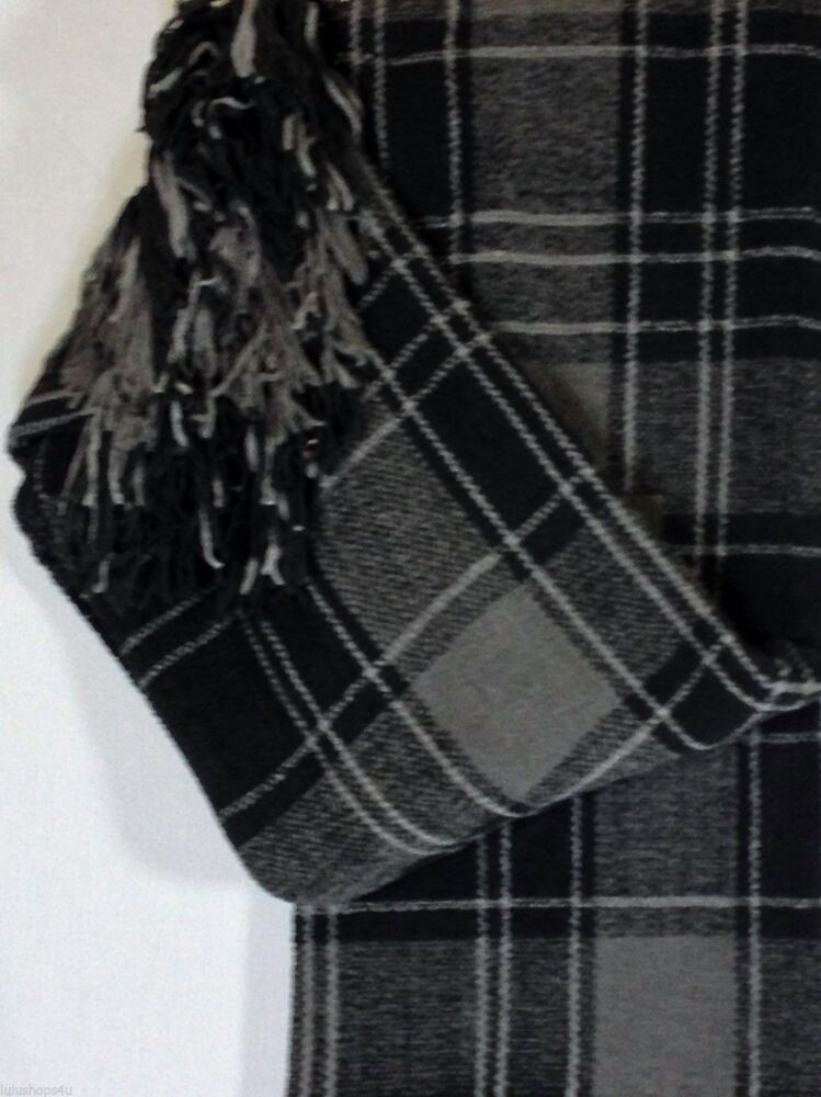 ralph lauren black gray grey plaid 54 x 72 classic fringed throw blanket lounge ebay. Black Bedroom Furniture Sets. Home Design Ideas