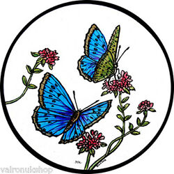 STAINED GLASS WINDOW ART - STATIC CLING  DECORATION - BLUE BUTTERFLIES